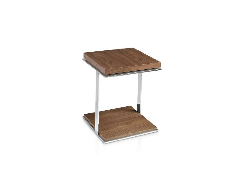 Steel corner table and Walnut-veneered wooden cover.