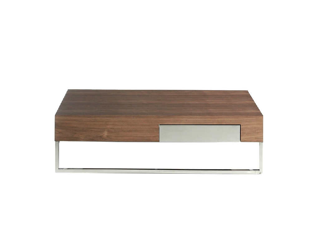 Coffee table in walnut veneer with one side drawer and chrome plated steel legs