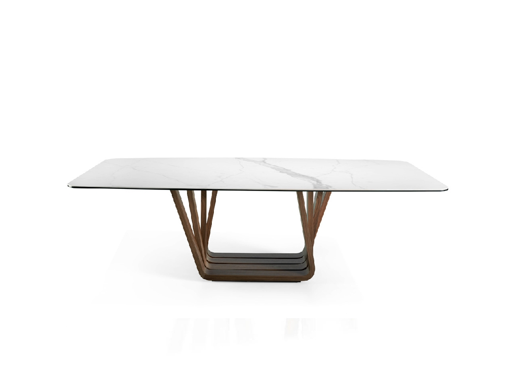 Dining room table with Walnut veneer wooden based and white porcelain marble tabletop