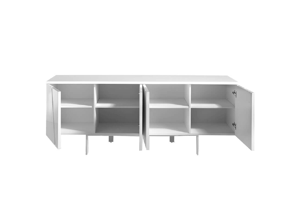 Sideboard lacquered in glossy white and details in chrome plated steel