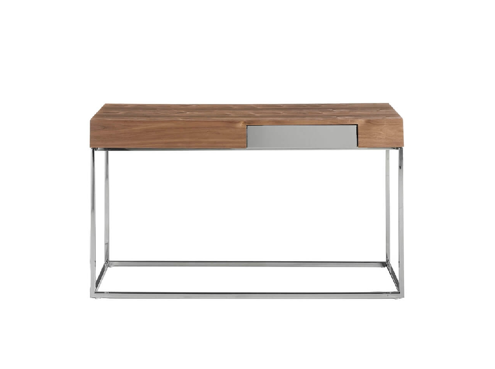 Walnut wood and chrome steel reception console