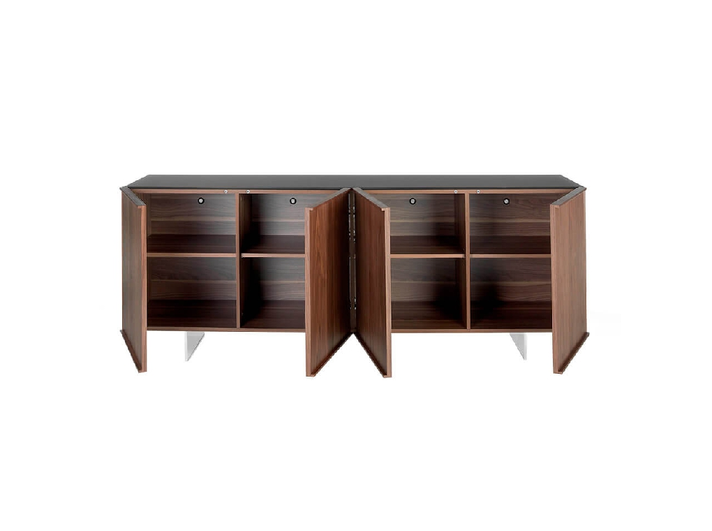 Sideboard manufactured in walnut plate with stainless steel legs and tempered glass top
