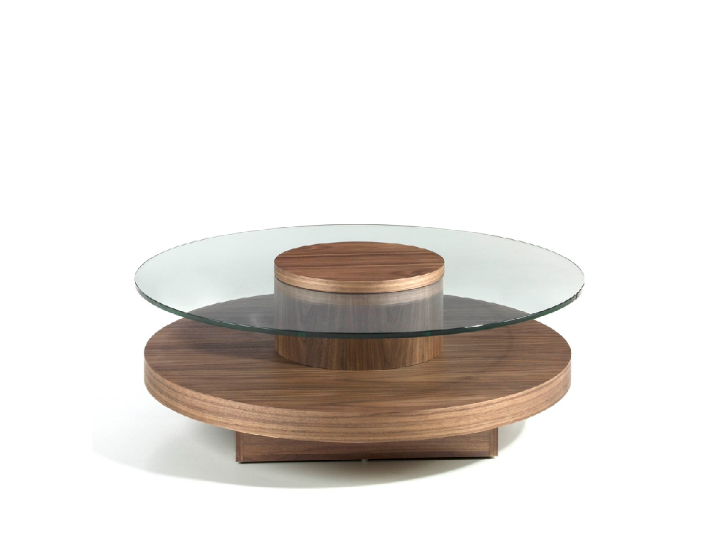 Round center table in tempered glass and Walnut wood