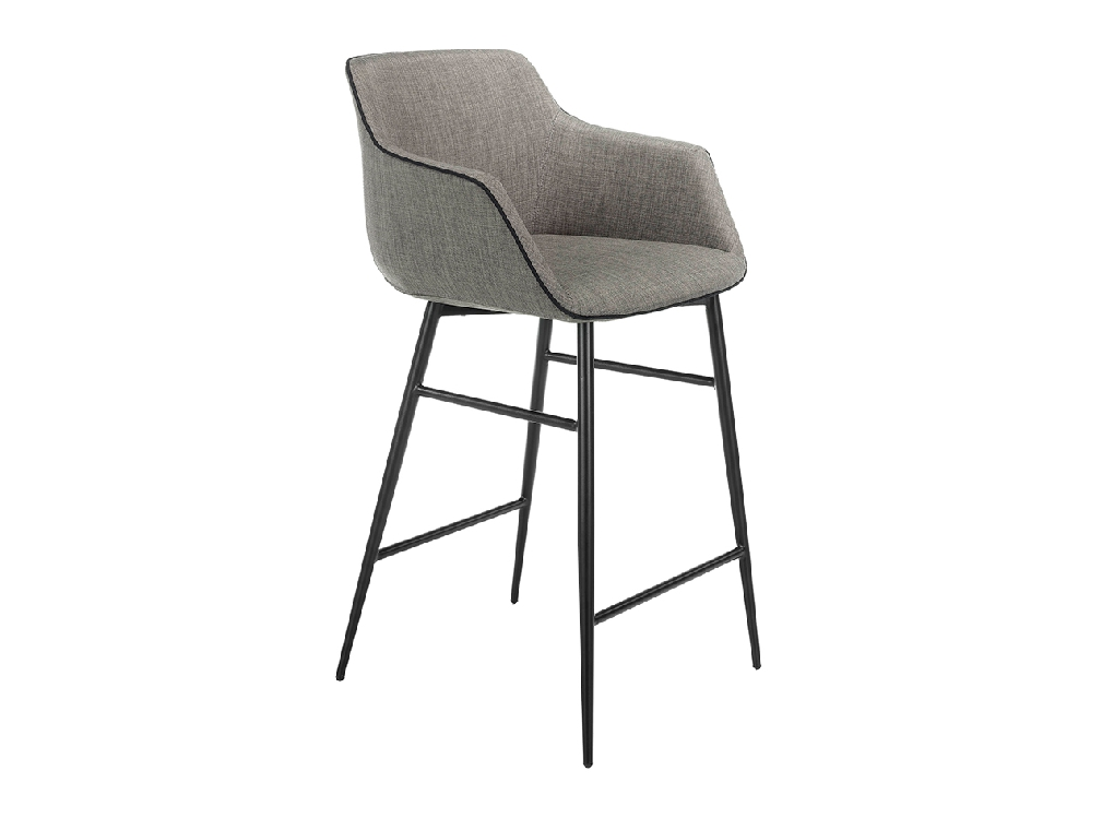 Upholstered stool with black steel frame