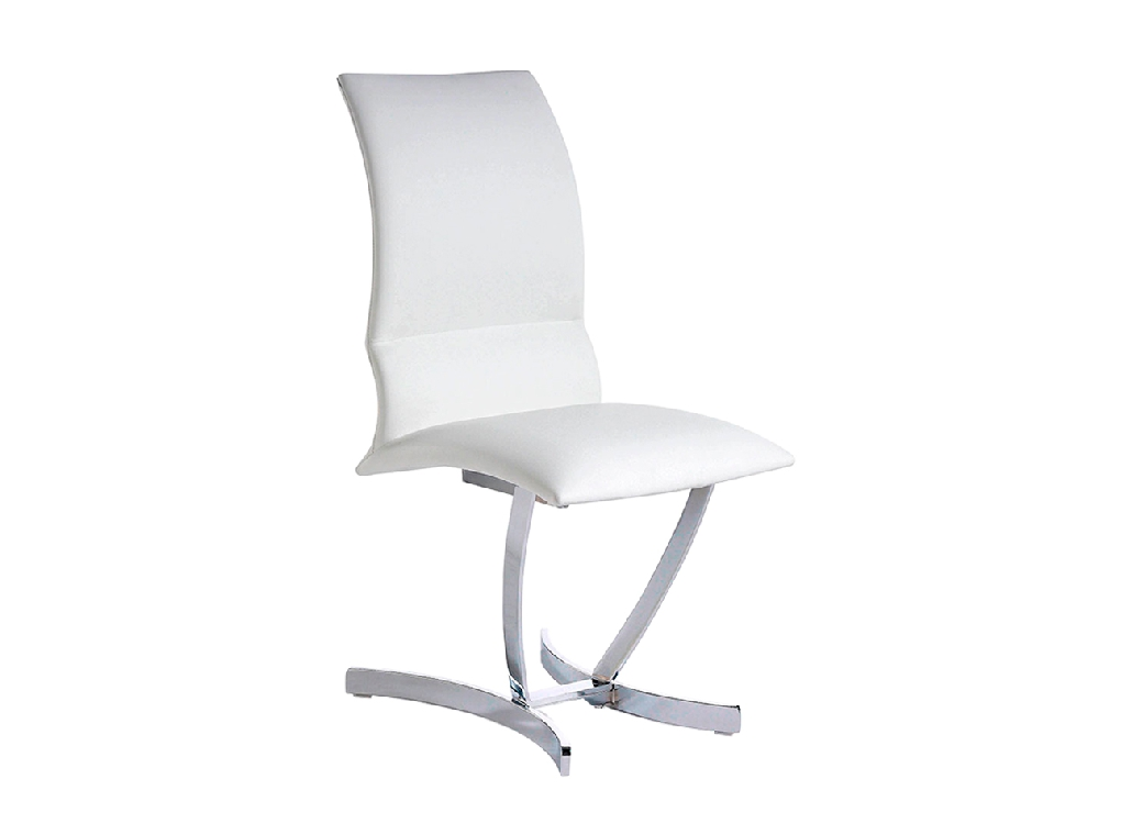 Chair upholstered in leatherette with chromed steel frame
