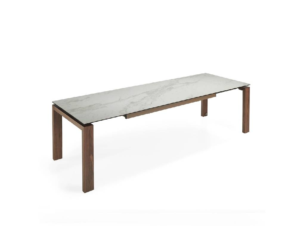 Extendable dining table with porcelain marble tops