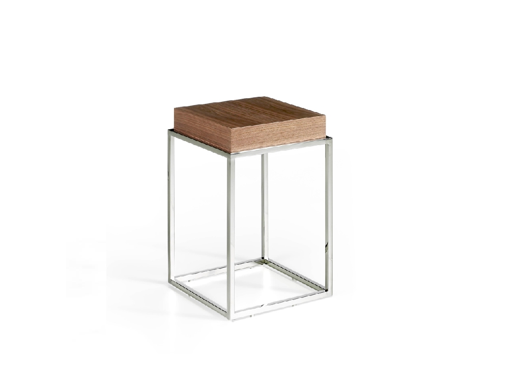 Walnut wood and chrome steel corner table