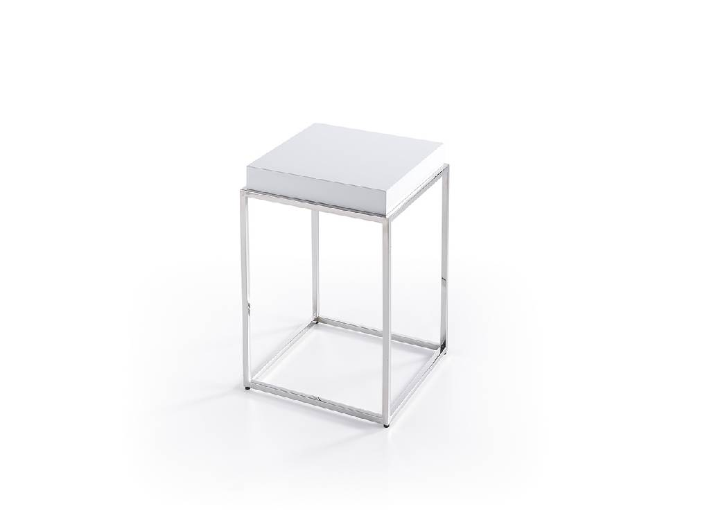 Corner table with stainless steel frame and laquered Mdf top.