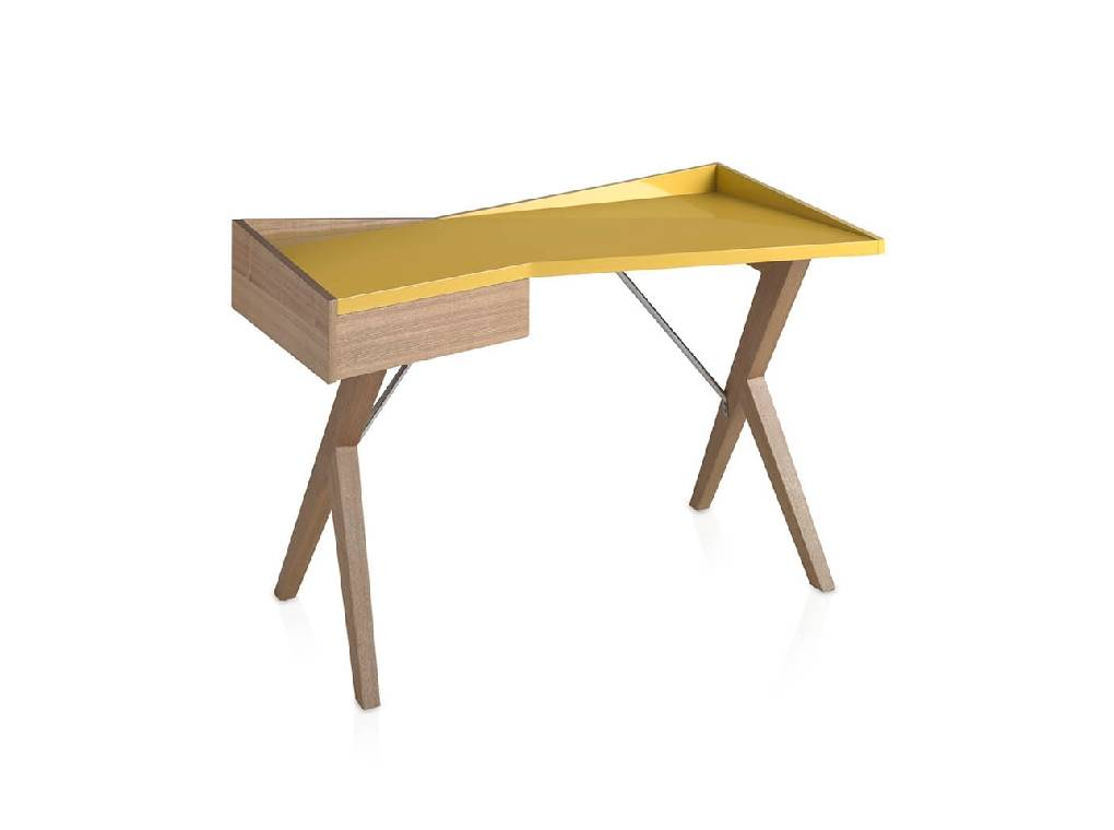Office desk in oak wood and laquered Mdf top