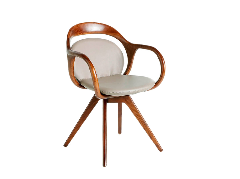 Upholstered swivel chair in leatherette with ash structure painted in walnut color
