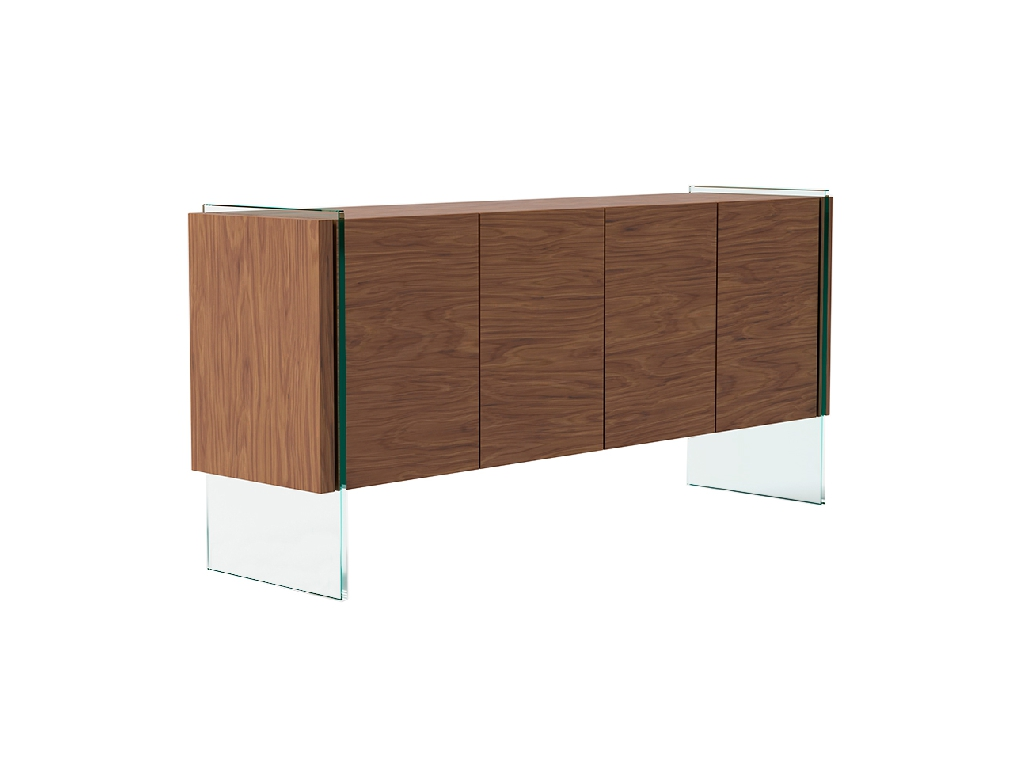 Sideboard in walnut veneered wood with tempered glass sides.