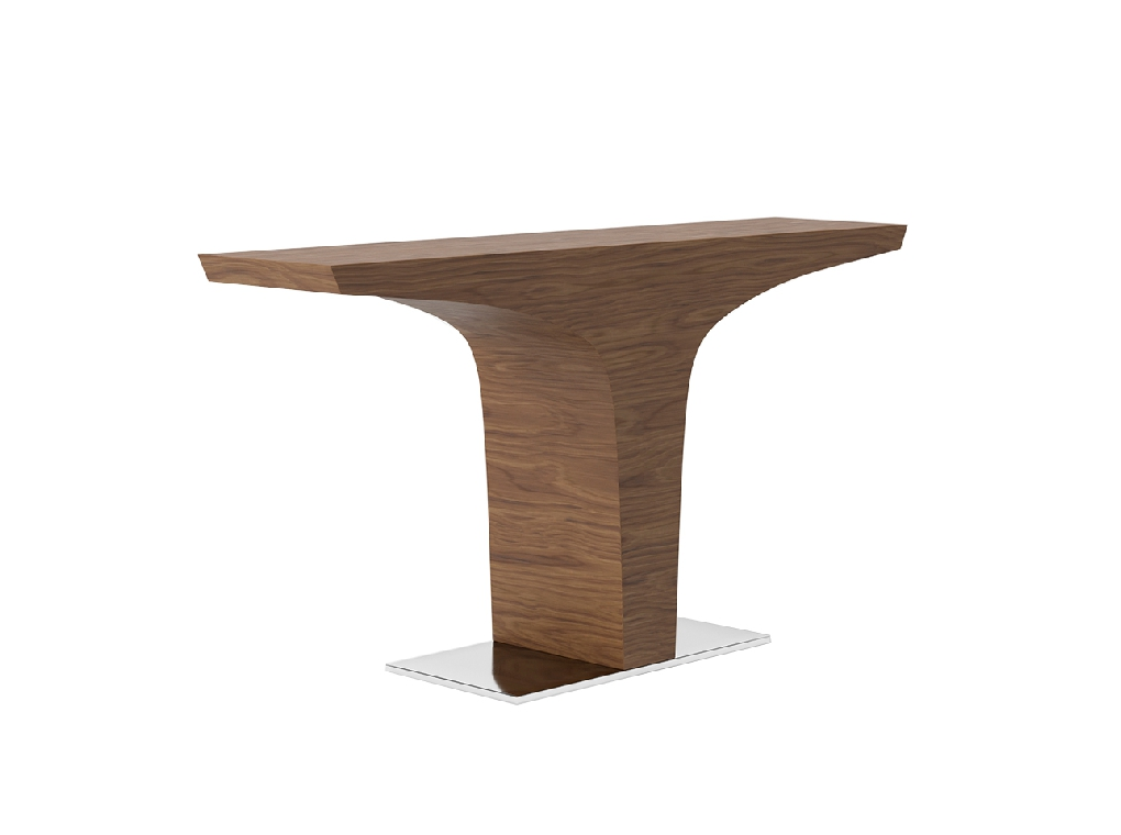 Walnut-veneered wooden console