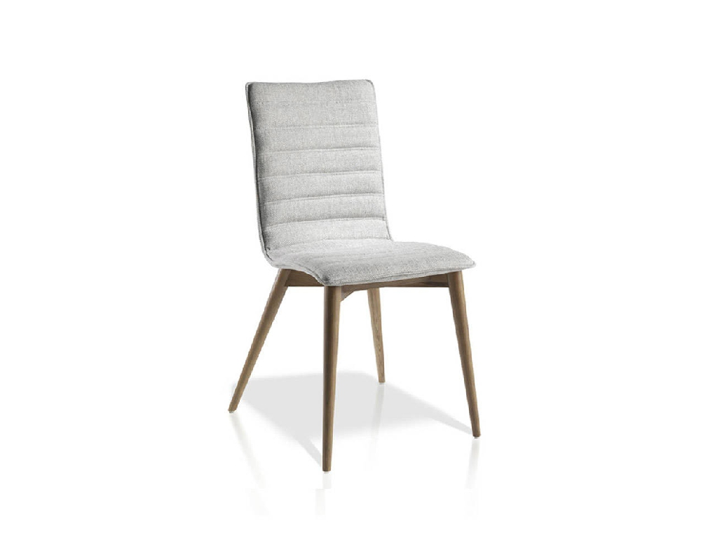 Upholstered chair with leg in walnut color.