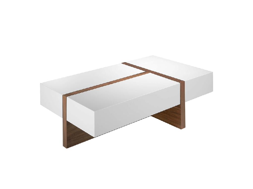 Coffee table in walnut veneered wood with lacquered tops