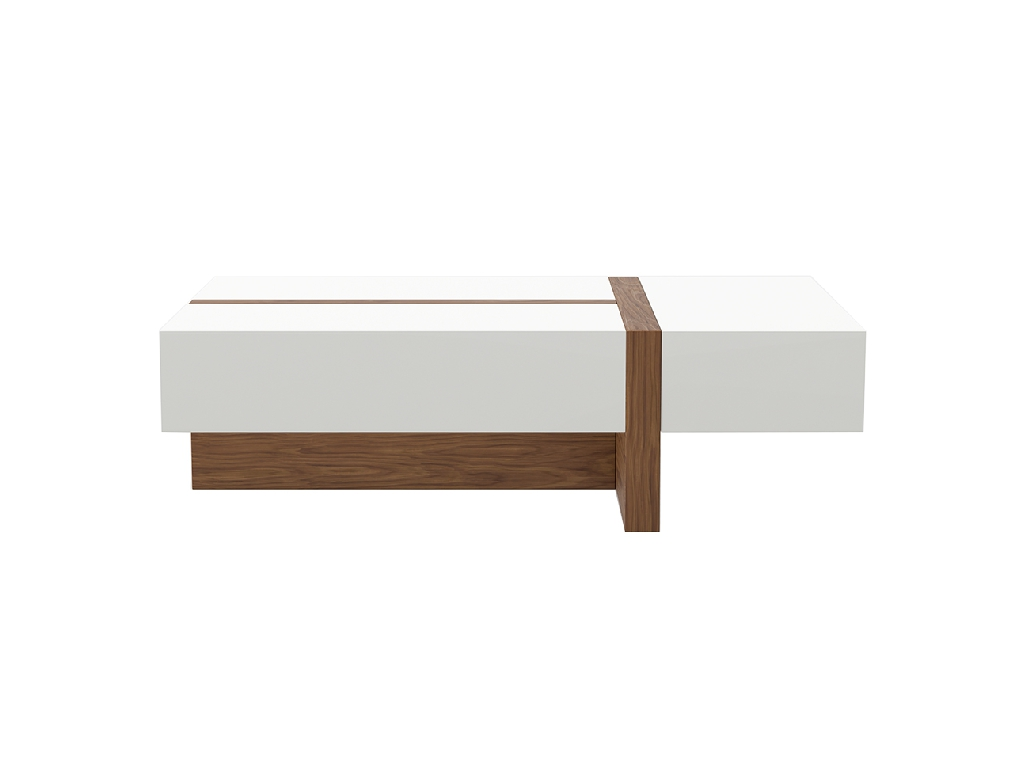 White wooden coffee table with drawers and Walnut wood