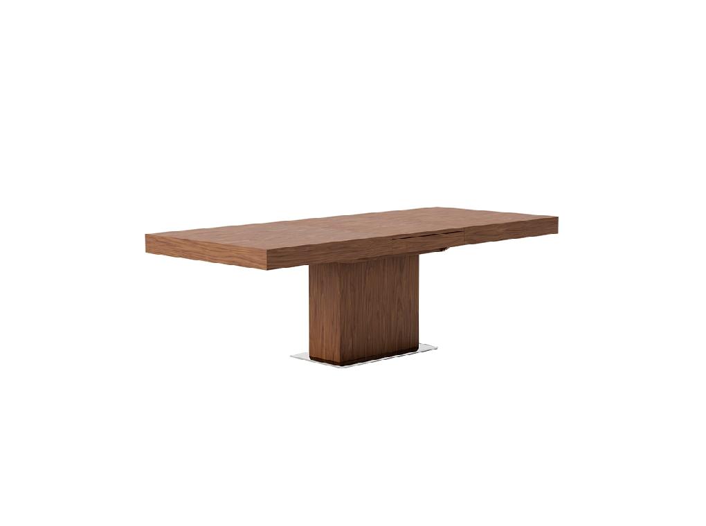 Rectangular extendible dining table in walnut veneered wood