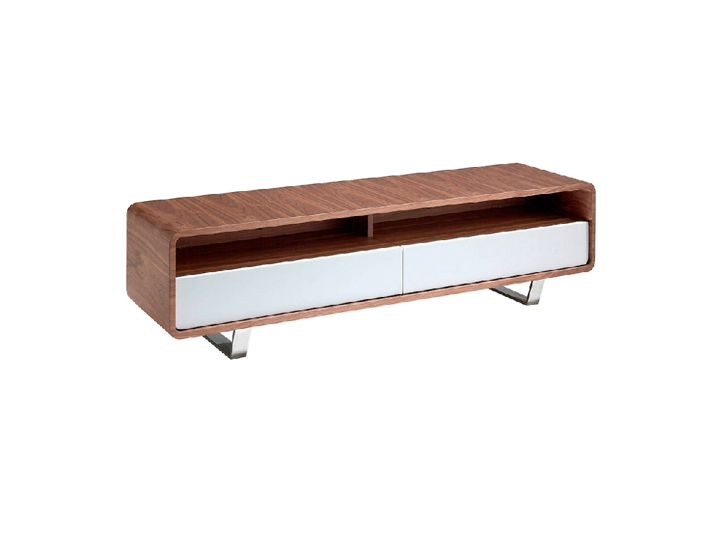 Walnut-veneered wooden TV furniture with two lacquered drawers and stainless steel legs
