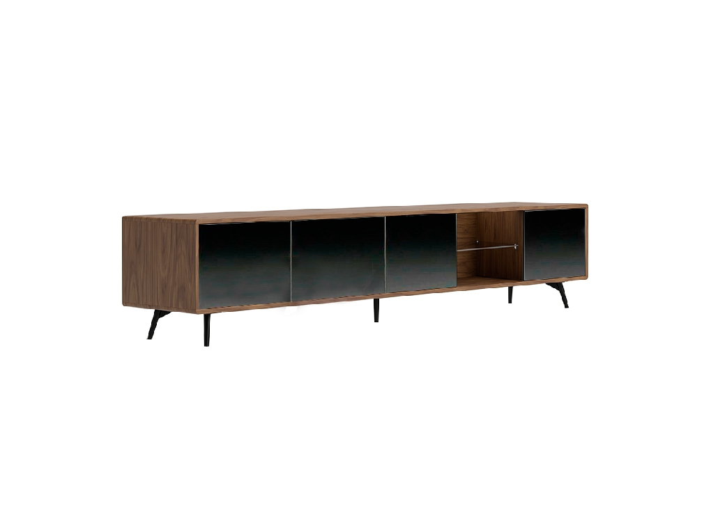 Mueble TV de madera Nogal y puertas cristal negro espejo