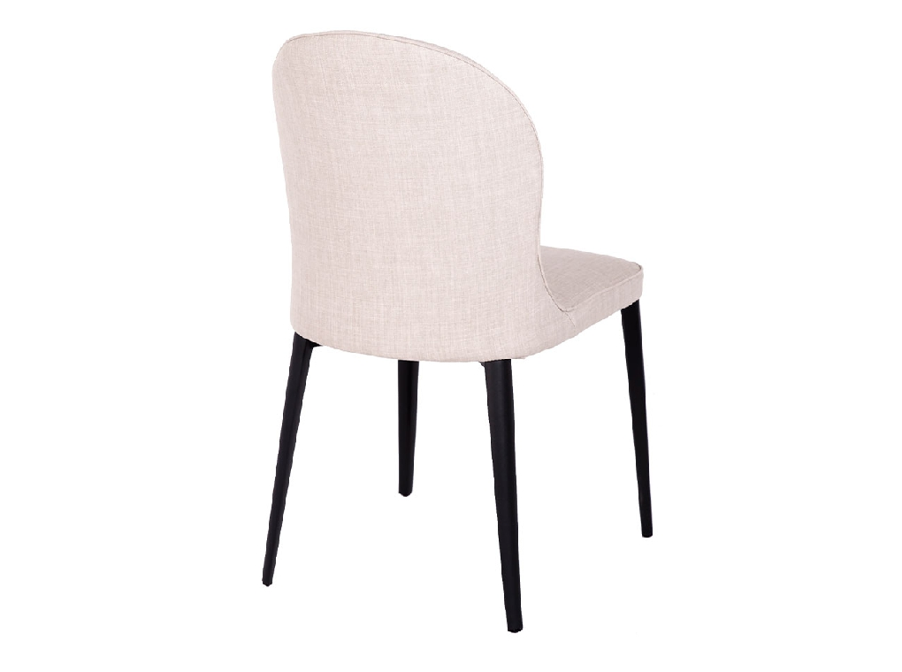 Chair upholstered in fabric with a steel structure.