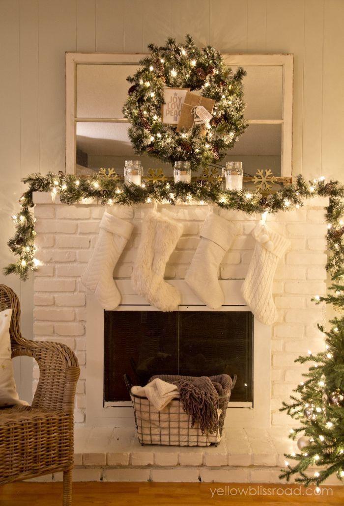 decoracion chimenea navidad