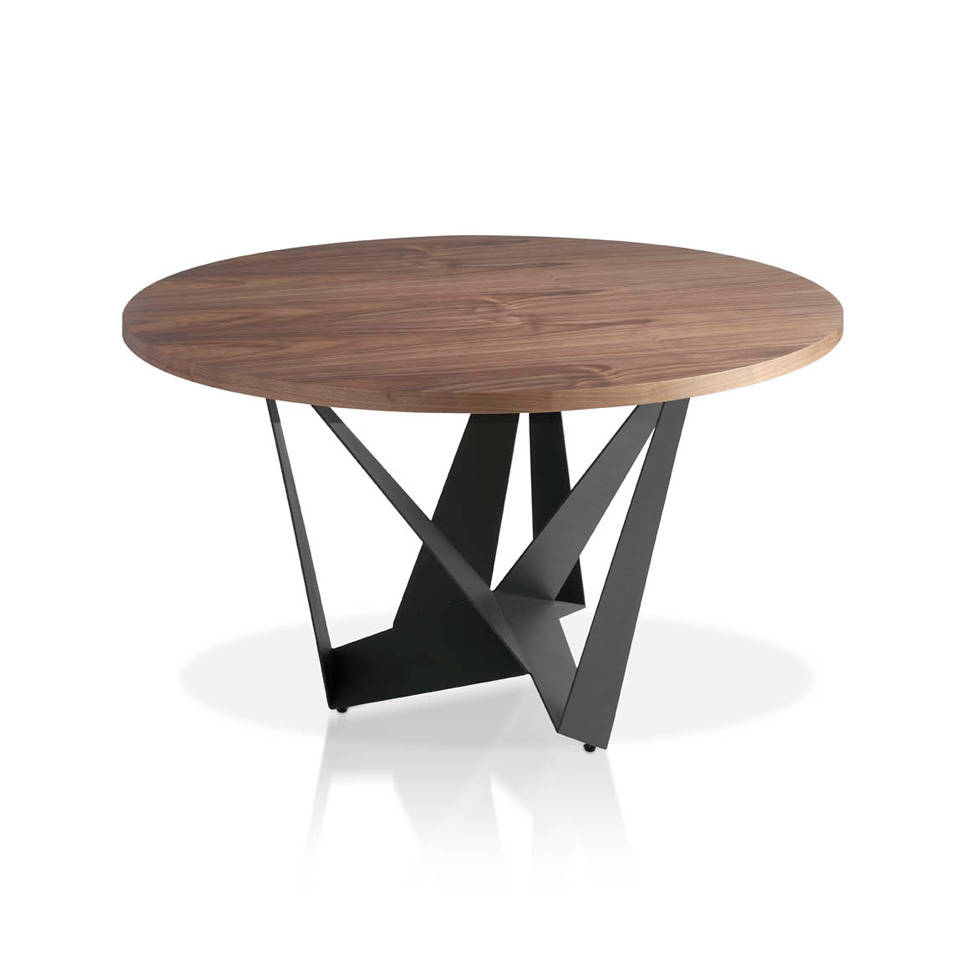 [:es]Mesa de comedor con tapa de Nogal redonda y base de acero pintado  epoxy[:en]Dining table with round walnut top and epoxy painted steel ...