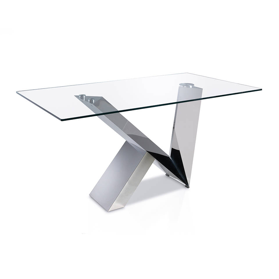 Dining Table With Tempered Glass Top And Stainless Steel