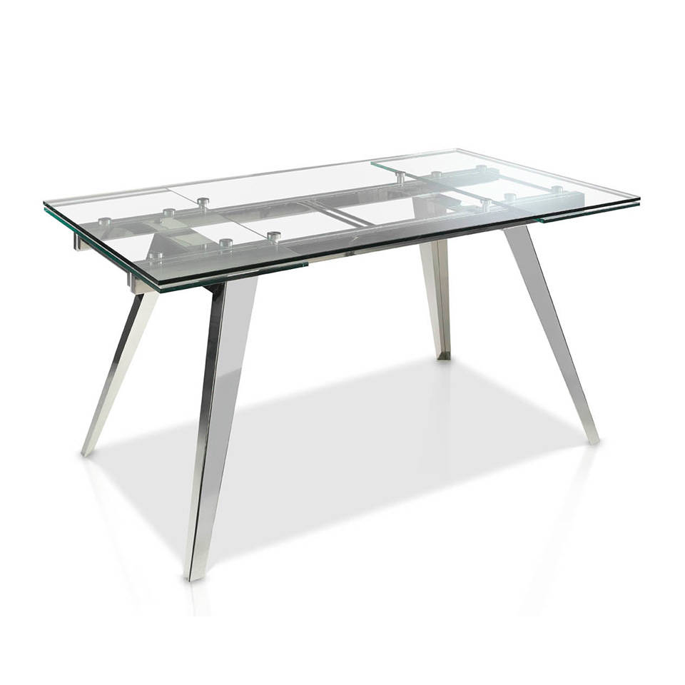 [:es]Mesa de comedor extensible de cristal templado y base de acero  inoxidable[:en]Extendible Dining table with tempered glass top and  stainless steel ...