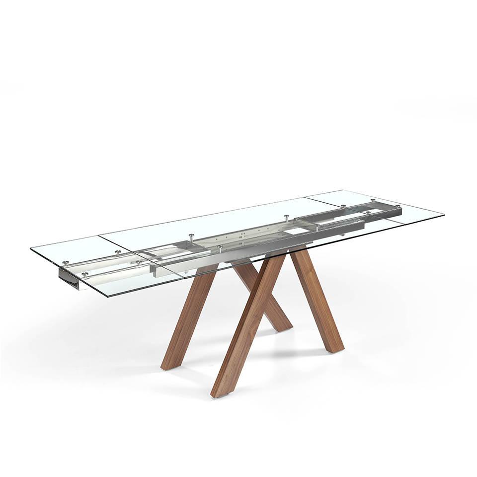 [:es]Mesa de comedor extensible con patas de madera maciza y tapas de  cristal templado[:en]Extendable dining table with solid wood legs and  tempered ...