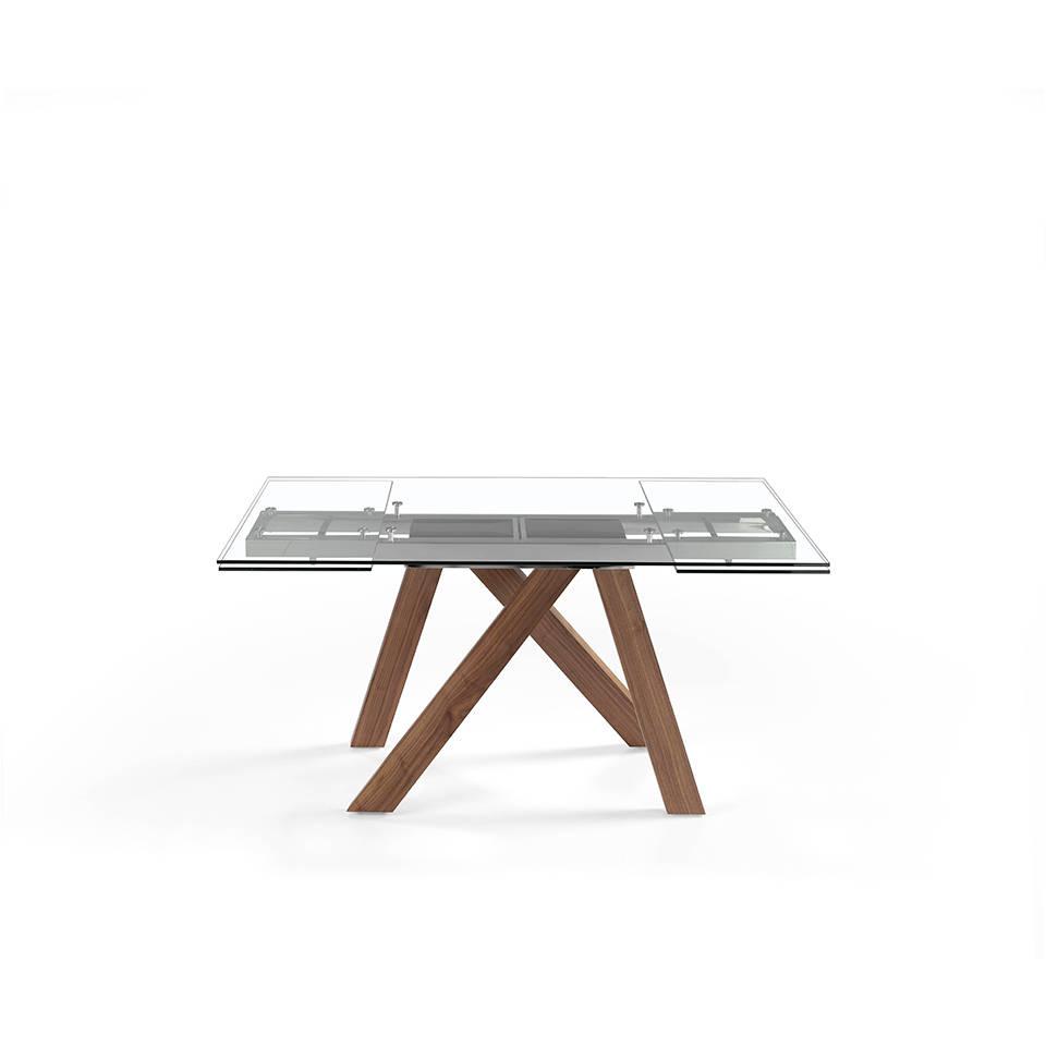 Es Mesa De Comedor Extensible Con Patas De Madera Maciza Y Tapas De Cristal Templado En Extendable Dining Table With Solid Wood Legs And Tempered