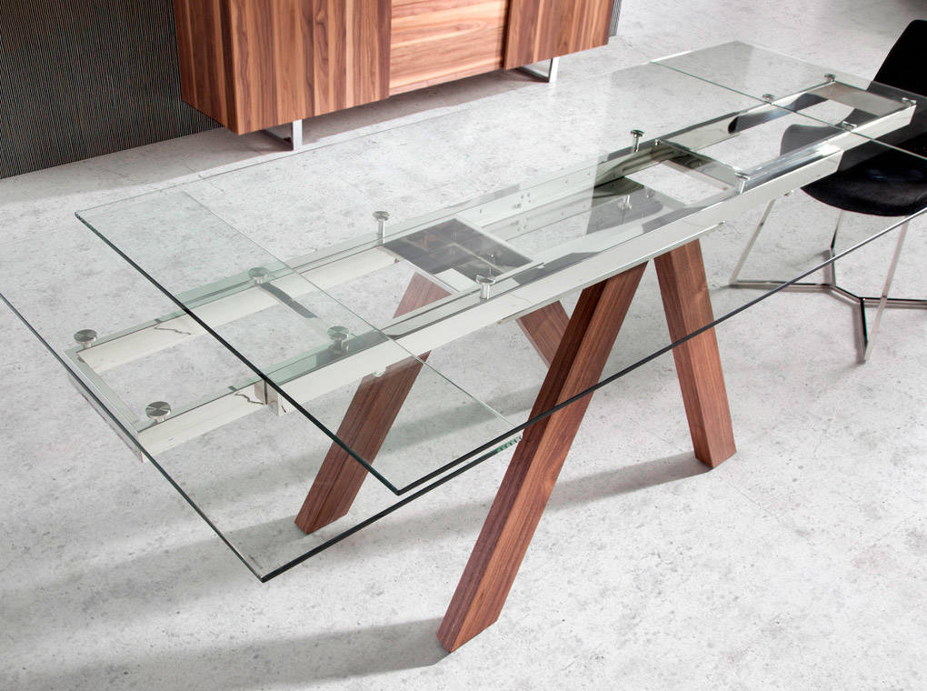 [:es]Mesa de comedor extensible con patas de madera maciza y tapas de  cristal templado[:en]Extendable dining table with solid wood legs and  tempered ...