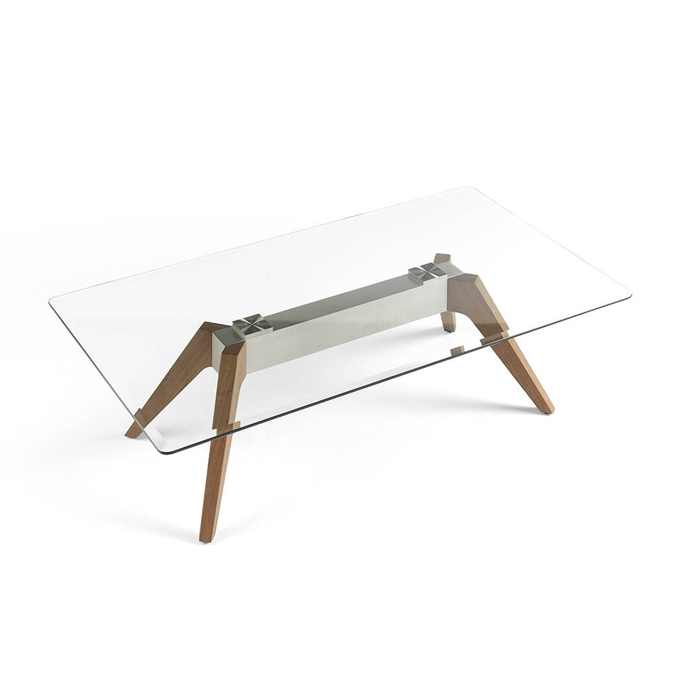 Glass Coffee Table With Stainless Steel Legs: Coffee Table With Tempered Glass Tabletop, Stainless Steel