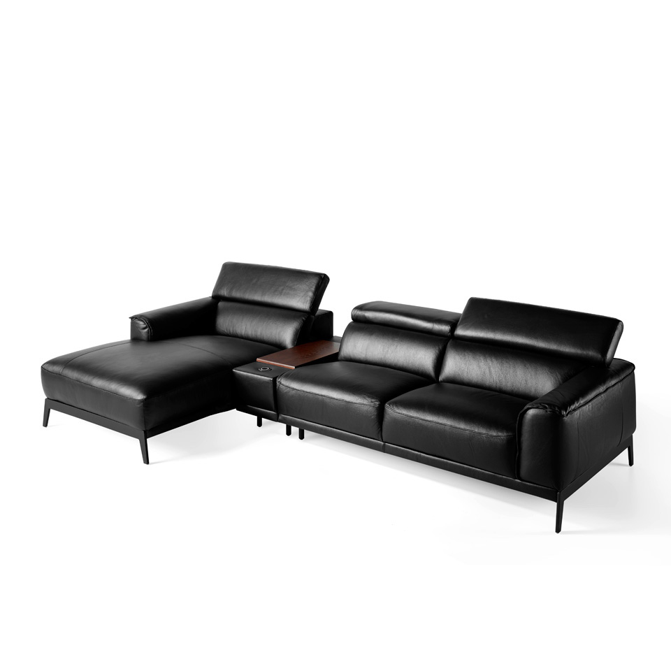 - Chaise Lounge Sofa Upholstered In Leather - Angel Cerdá S.L