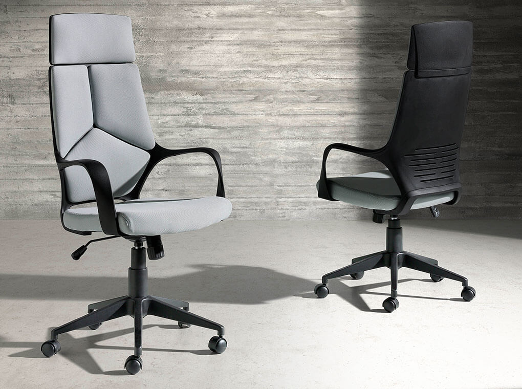 office armchair upholstered in grey fabric with 360o rotating arms